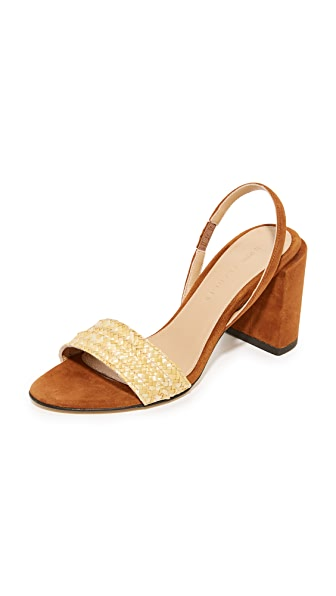 Dear Frances Ash Raffia Heels - Chestnut Brown