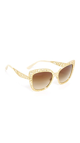 Dolce & Gabbana Lace Sunglasses - Gold/Brown