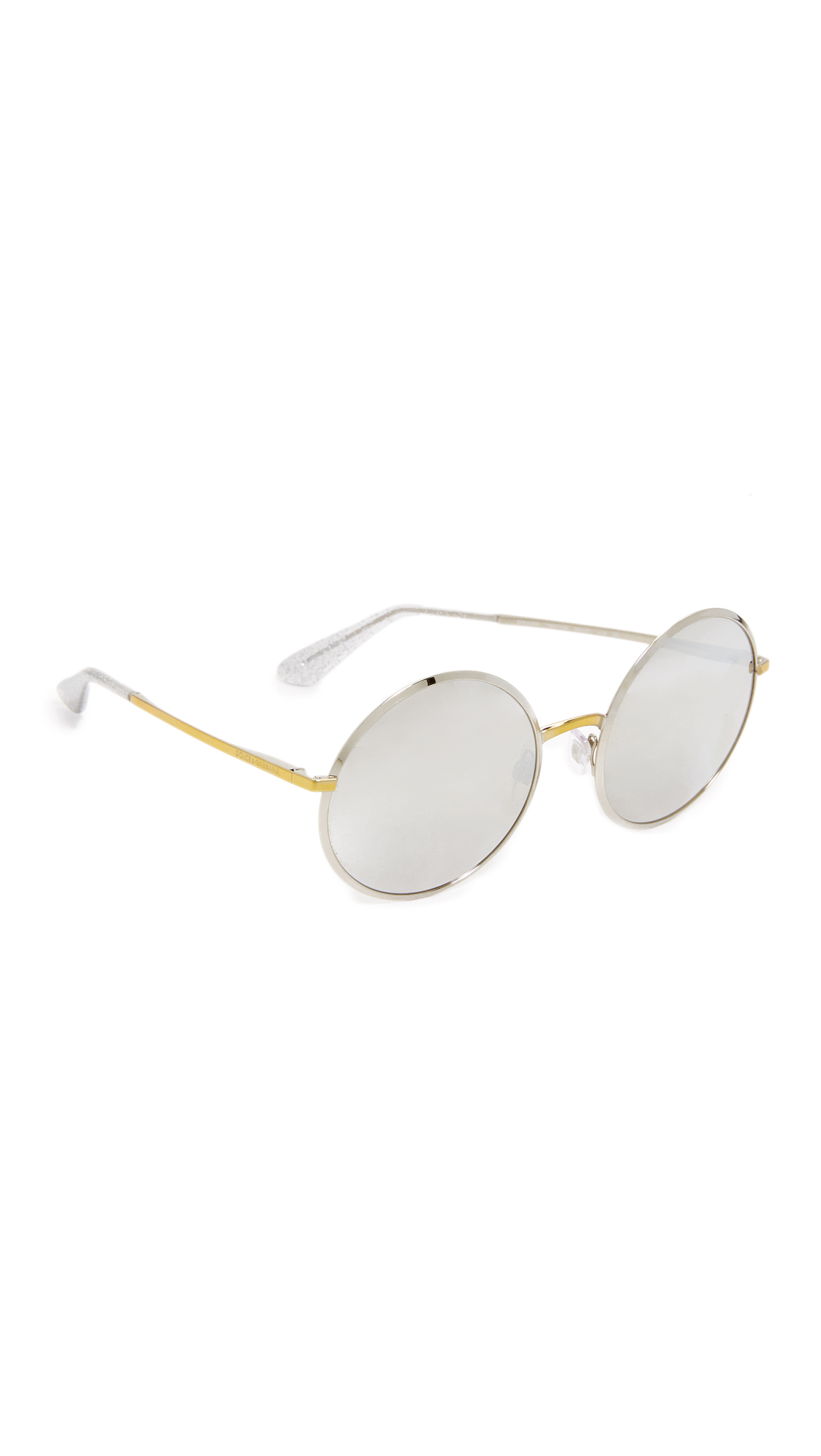 Dolce & Gabbana Round Mirrored Sunglasses - Silver Gold/Gold at Shopbop