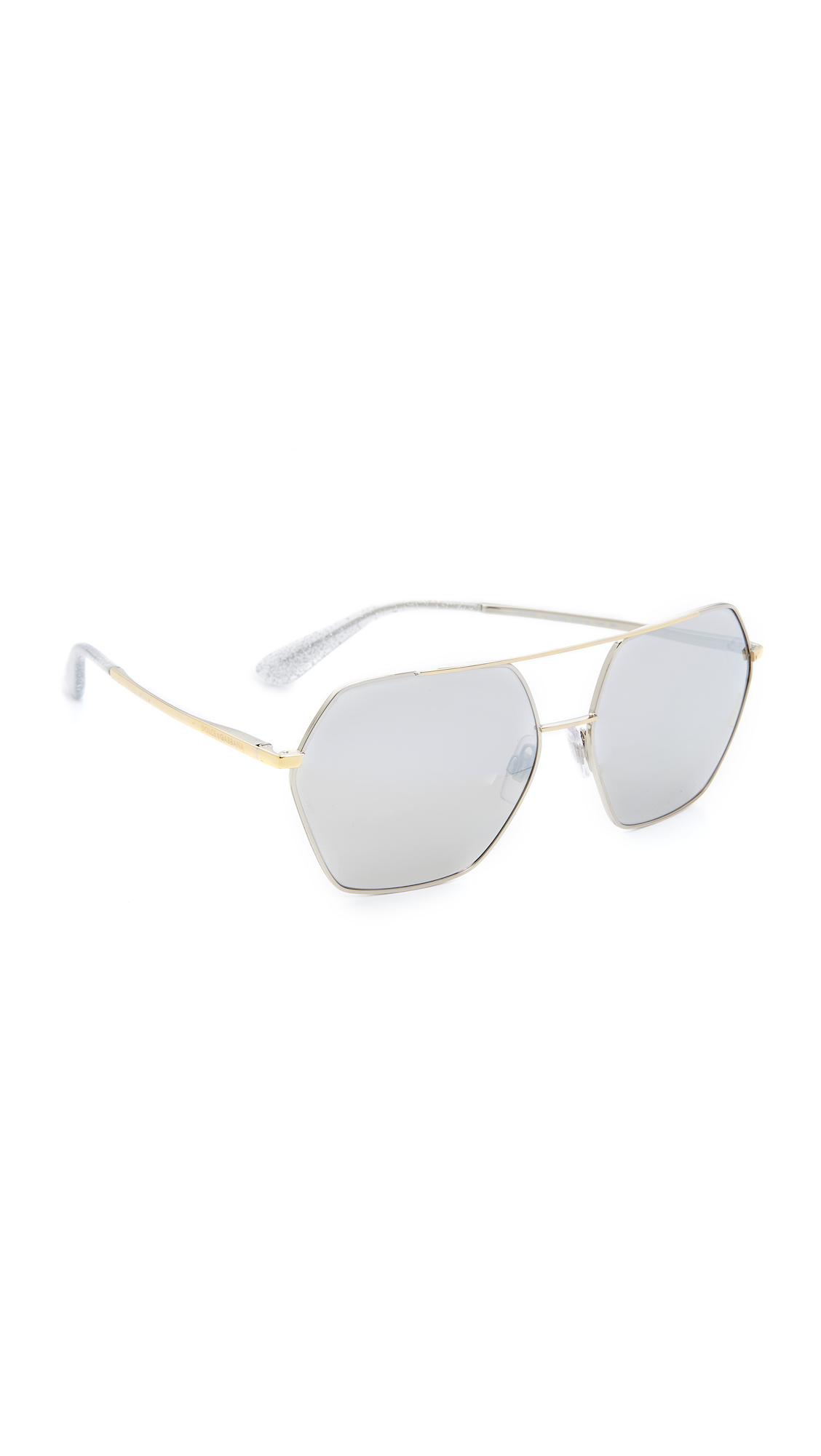 Dolce & Gabbana Mirrored Aviator Sunglasses - Silver Gold/Gold at Shopbop