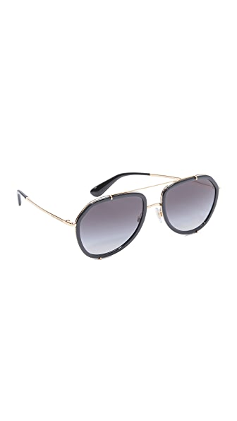 Dolce & Gabbana Aviator Sunglasses - Black/Grey