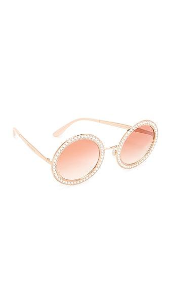 Dolce & Gabbana Round Crystal Sunglasses - Pink Gold/Pink
