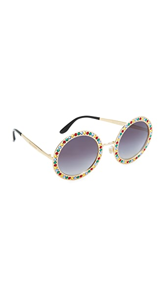 Dolce & Gabbana Round Crystal Sunglasses - Gold Multi/Grey