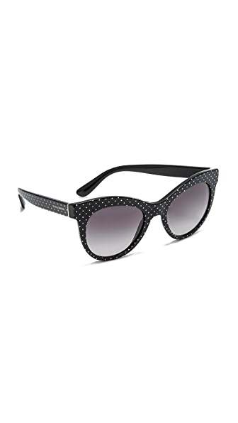 Dolce & Gabbana Cat Eye Polka Dot Sunglasses - Pois White Black/Grey