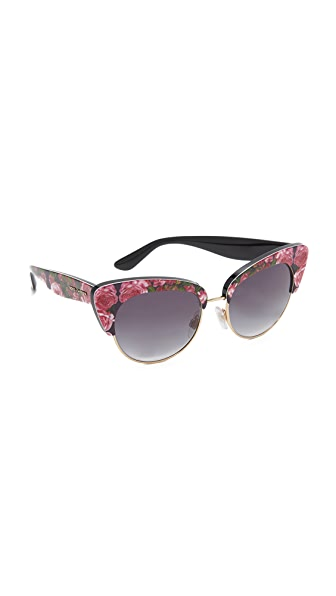 Dolce & Gabbana Rose Cat Eye Sunglasses - Rose/Grey