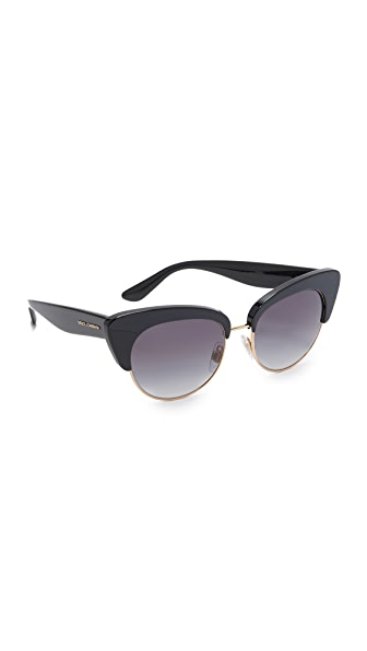 Dolce & Gabbana Cat Eye Sunglasses In Black/Grey