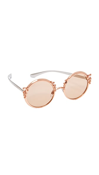 Dolce & Gabbana Barocco Sunglasses - Pink Gold/Brown