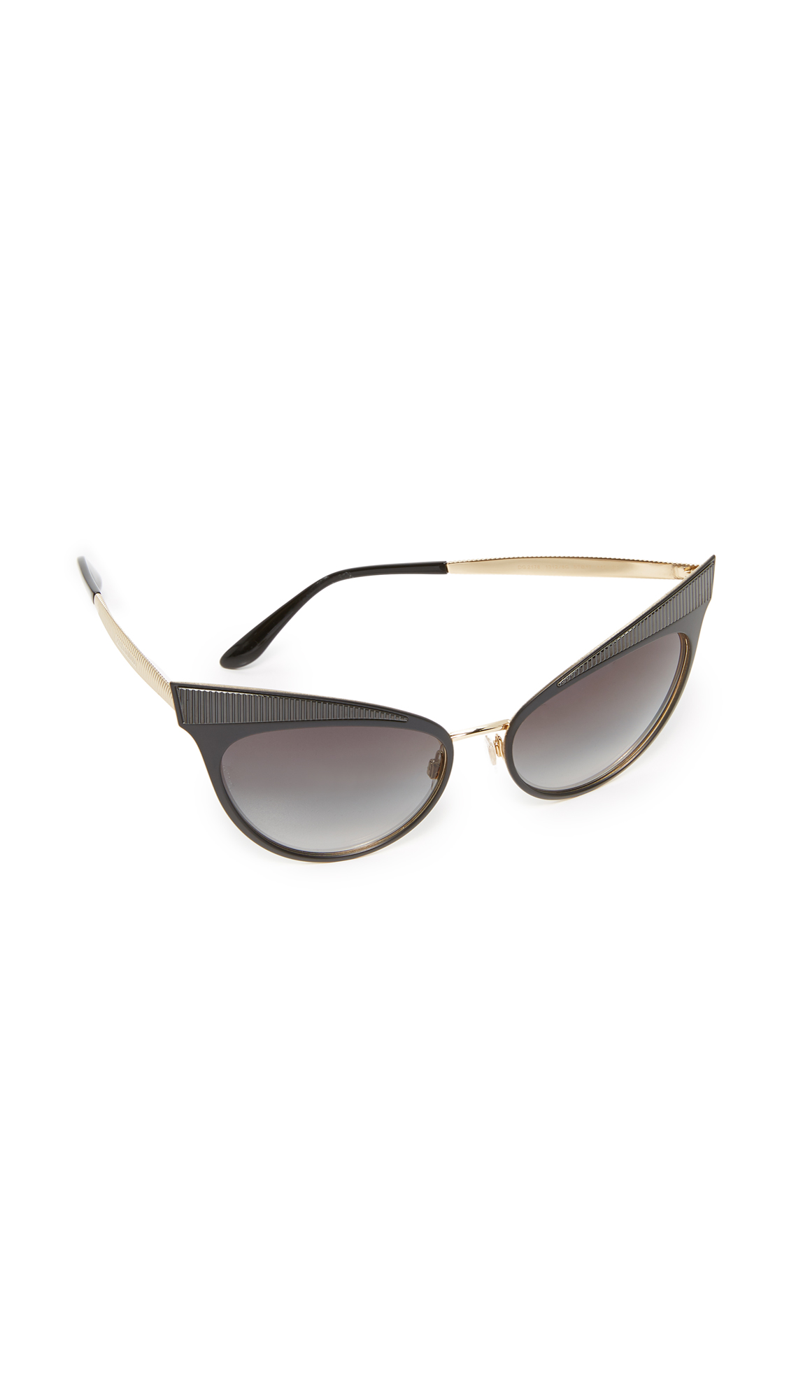 Dolce & Gabbana Grosgrain Cat Eye Sunglasses - Matte Black/Grey