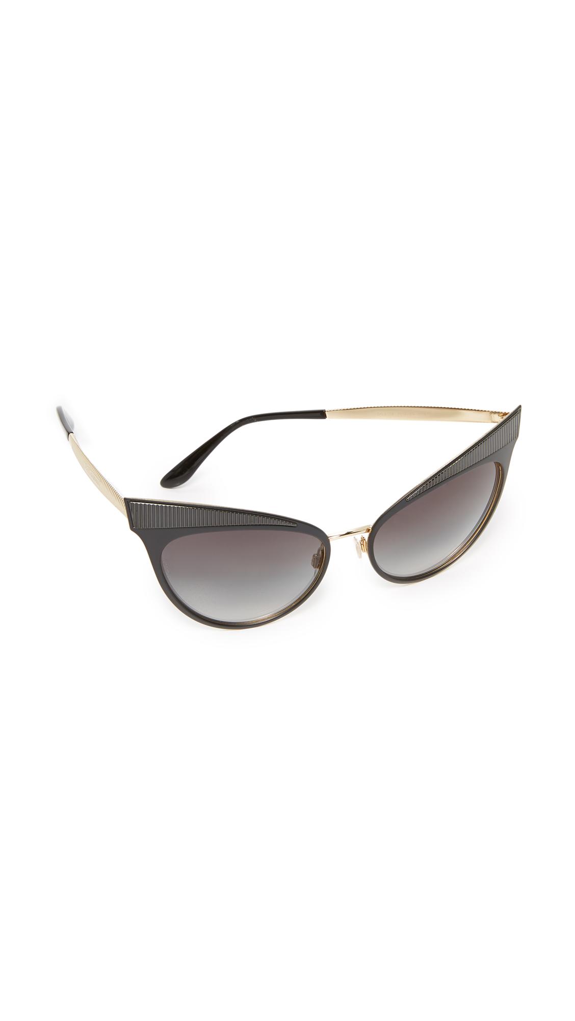 Dolce & Gabbana Grosgrain Cat Eye Sunglasses - Matte Black/Grey