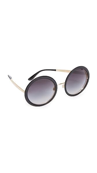 Dolce & Gabbana Grosgrain Round Sunglasses - Black/Grey