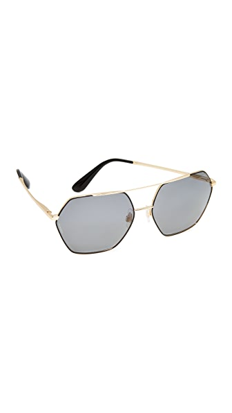 Dolce & Gabbana Geometric Aviator Sunglasses - Gold/Grey
