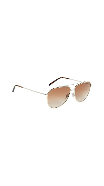 Dolce & Gabbana Wire Wrapped Aviator Sunglasses In Gold Silver/Brown