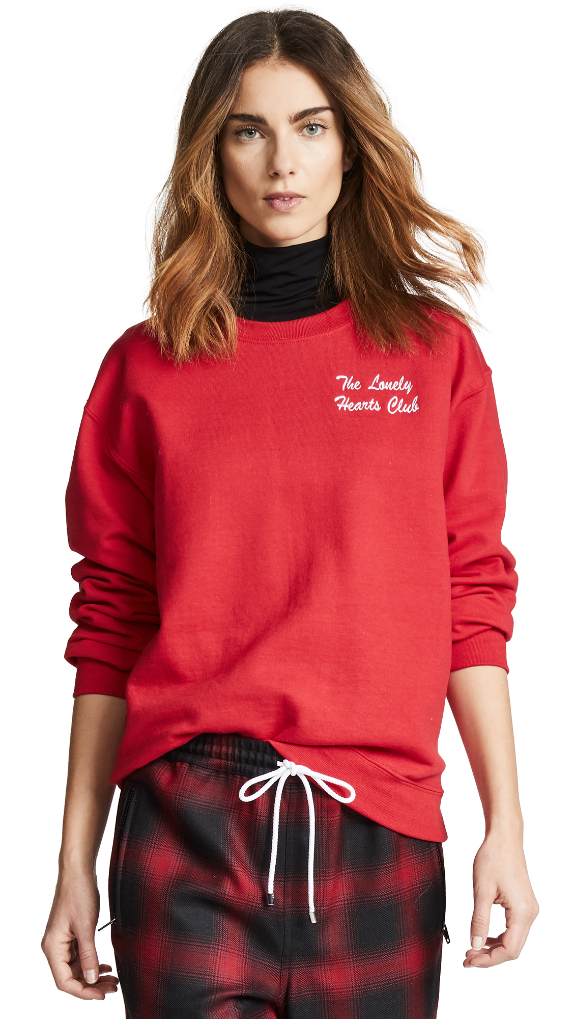 DOUBLE TROUBLE GANG Lonely Hearts Club Sweatshirt in Cherry Red