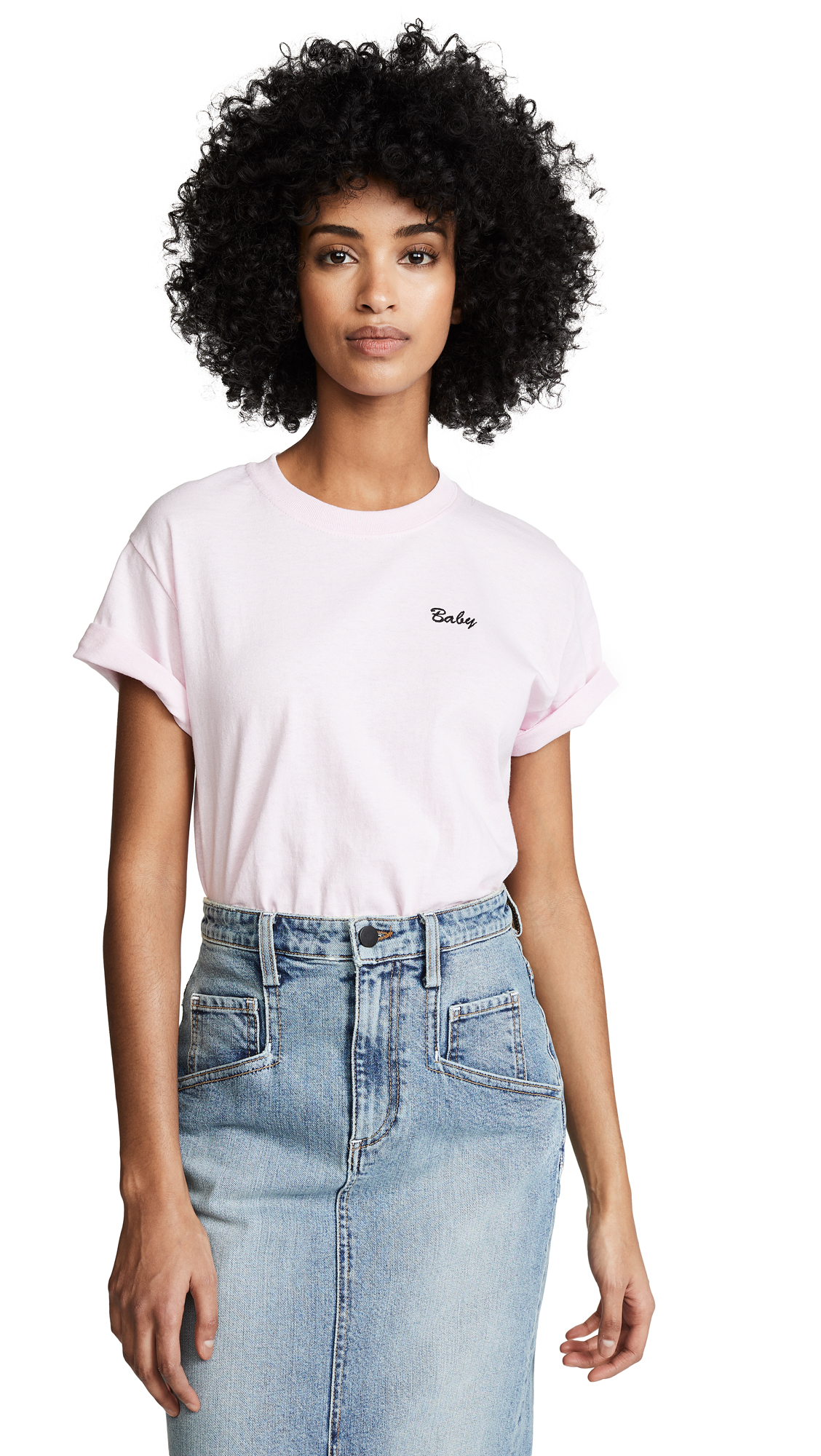 DOUBLE TROUBLE GANG Baby Tee in Powder Pink