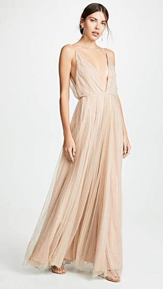 Divine Héritage Tops CRYSTAL MESH DEEP V NECK GOWN