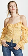 Divine Heritage Cold Shoulder Ruffle Sleeve Button Up Blouse