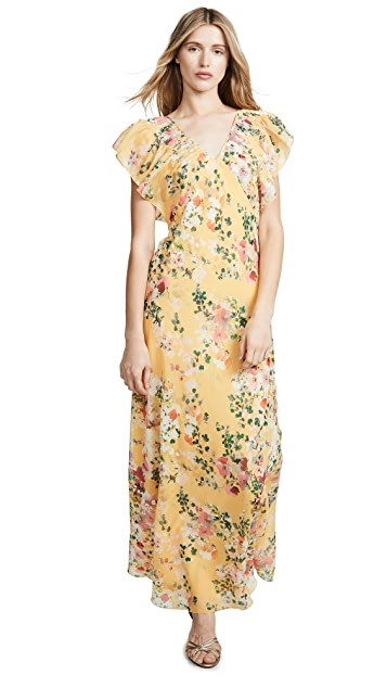Divine Heritage Pintuck Ruffle Maxi Dress