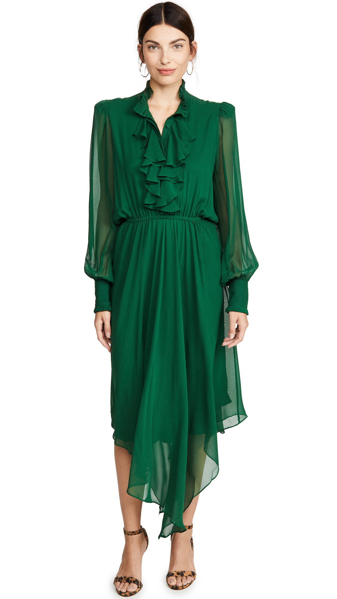 Buy Divine Heritage online - photo of Divine Heritage Ruffle Front Hanky Hem Midi Dress