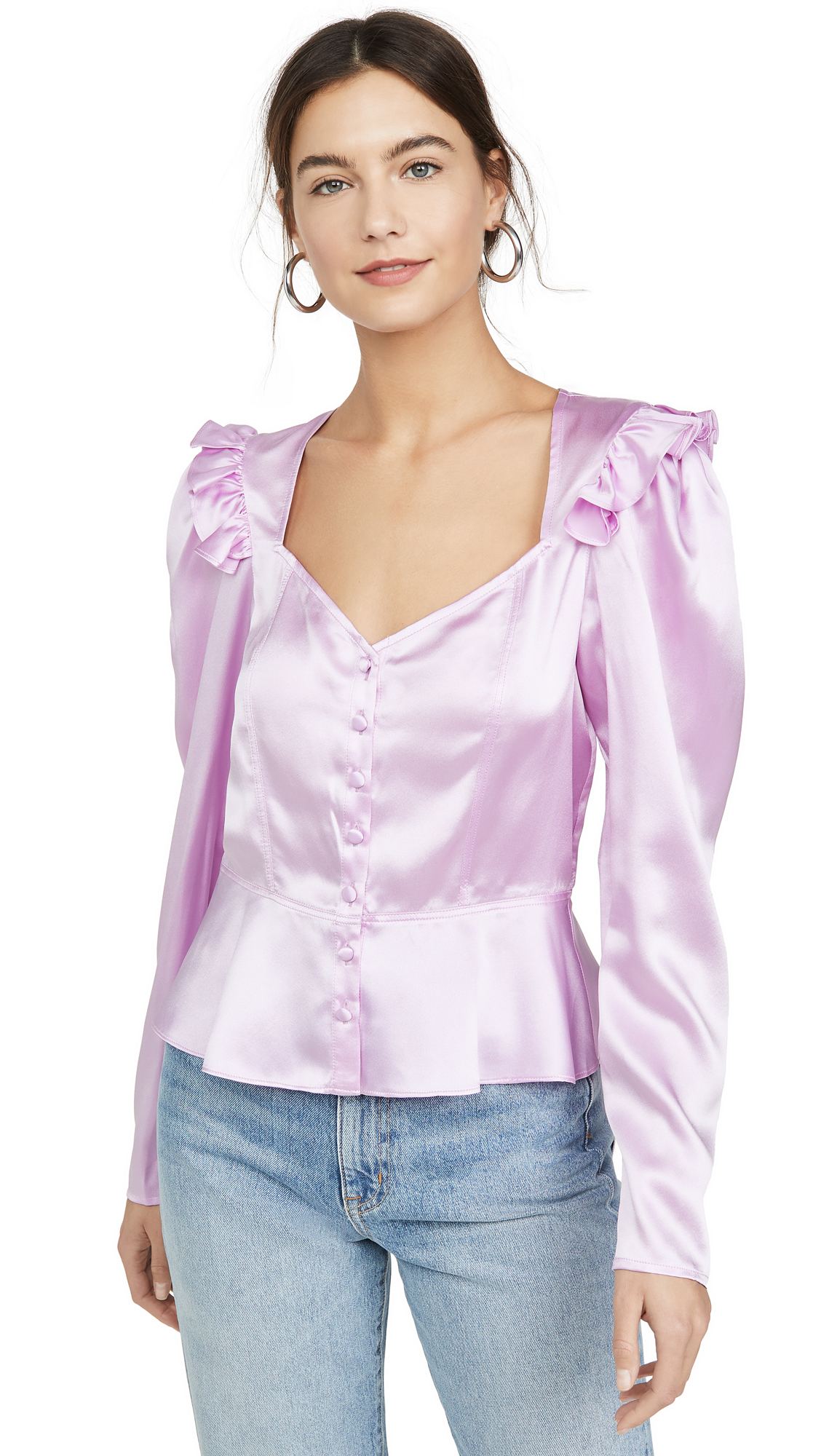 Buy Divine Heritage online - photo of Divine Heritage Sweetheart Neck Puff Sleeve Blouse