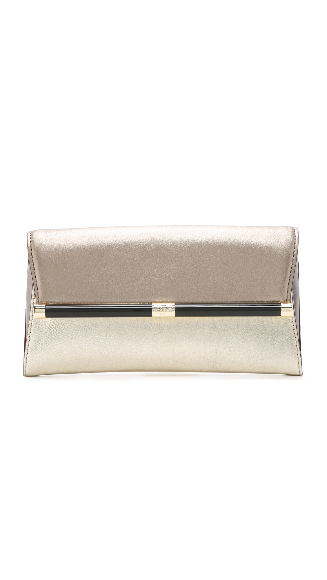 A refined DVF clutch in colorblocked metallic leather. Back pocket and magnetic front flap. The logo lined interior includes a zip compartment. Dust bag included. Leather: Cowhide. Weight: 12oz / 0.34kg. Imported, China. Measurements Height: 5in / 13cm