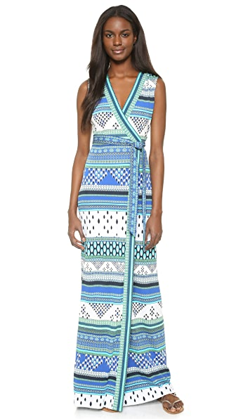 Diane Von Furstenberg New Yahzi Wrap Maxi Dress - Chevron Bands Blue