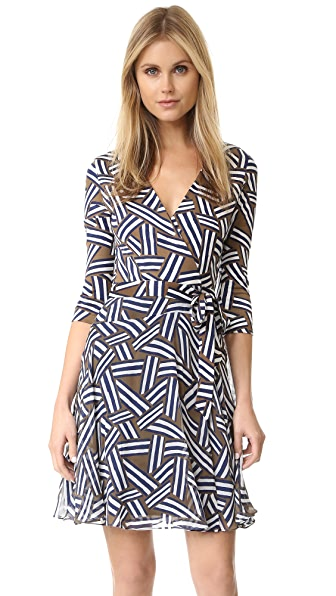 Diane Von Furstenberg Irina Wrap Dress - Ribbon Rectangles Khaki