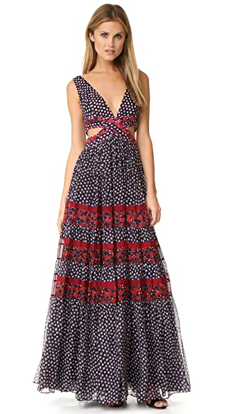 Diane von Furstenberg Altessa Cutout Dress - Pirouette Dot N/Montage M R/G