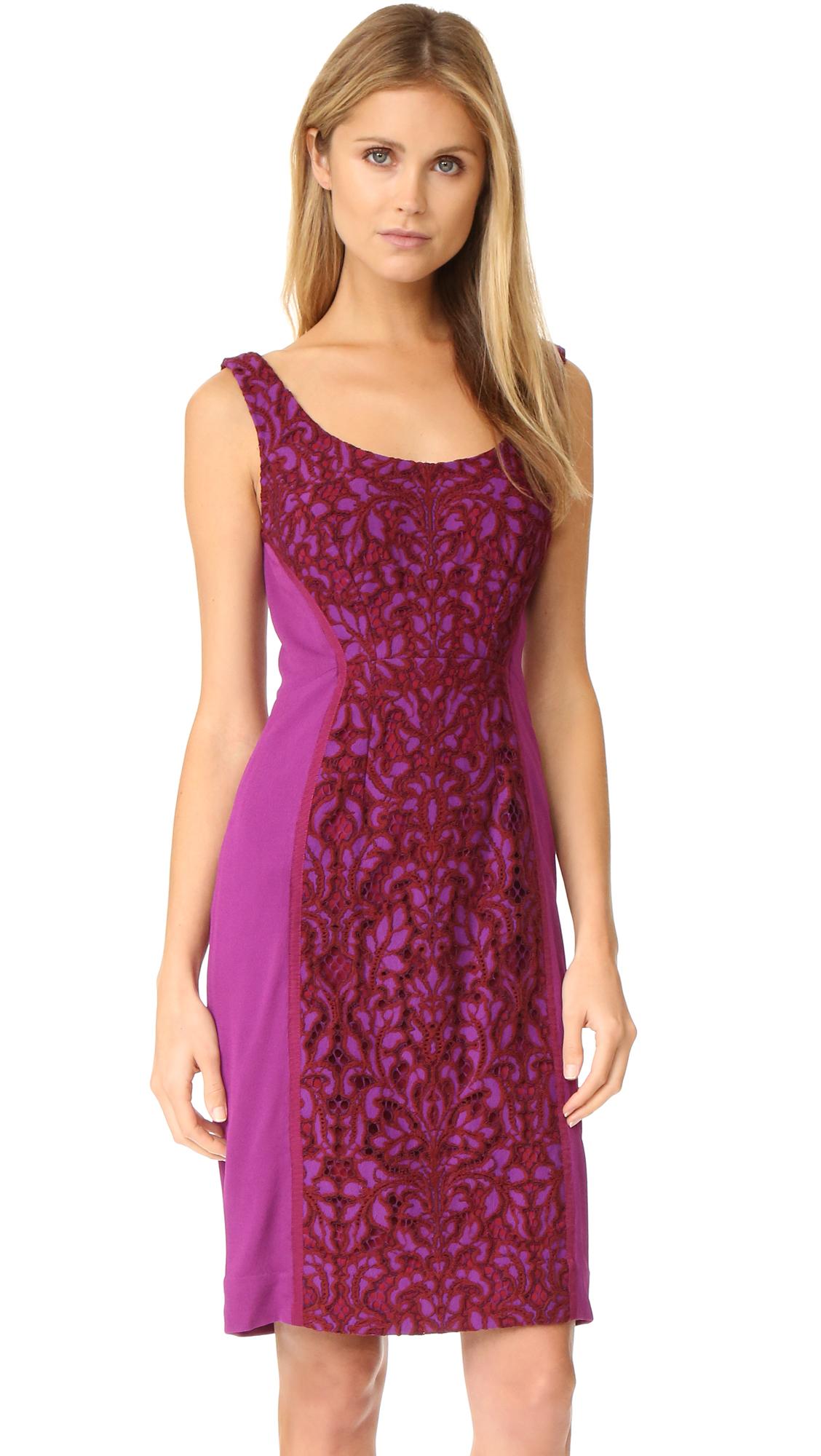 diane von furstenberg female diane von furstenberg geovana lace dress purple amethystred onyx