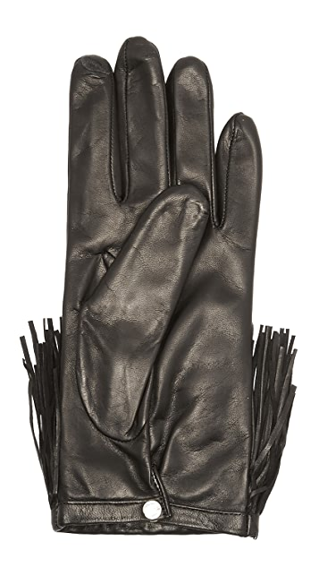 Diane von Furstenberg Fringe Leather Texting Gloves