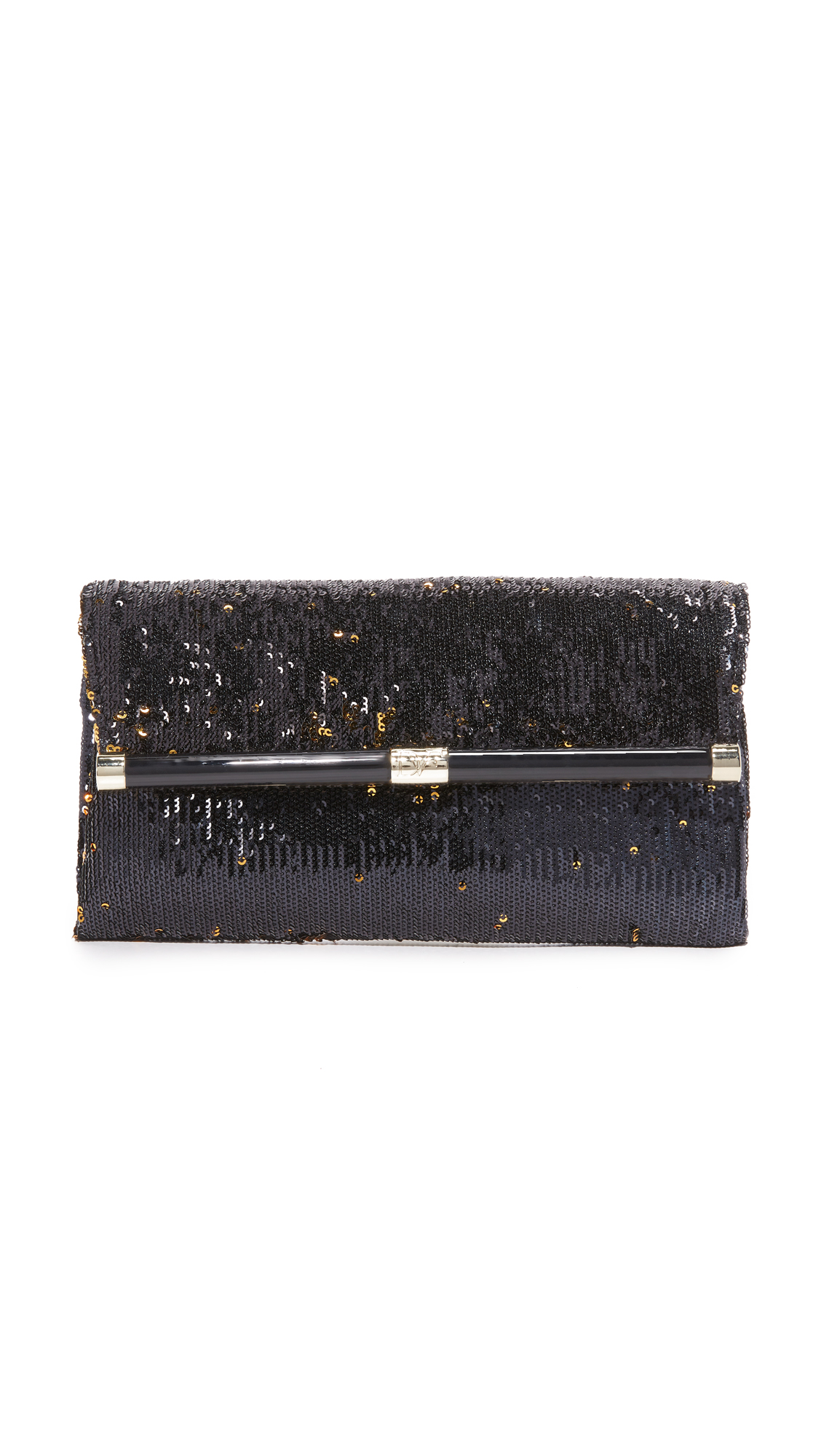 A sophisticated DVF clutch in shimmery, reversible sequins, which can shift at the touch of a hand from dark to metallic gold. Back pocket and magnetic front flap. Logo lined interior with a zip compartment. Dust