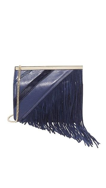 Diane von Furstenberg Soiree Tuxedo Flap Patchwork Fringe Bag