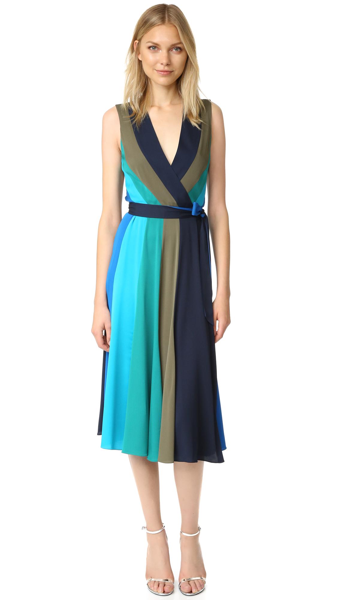 diane von furstenberg female diane von furstenberg penelope dress colorblock neptune blue