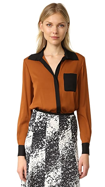 Diane von Furstenberg Carter Silk Blouse - Colorblock Copper