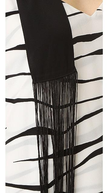 Diane von Furstenberg Skinny Rectangle Fringe Scarf