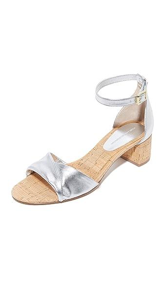 Diane von Furstenberg Florence City Sandals - Silver