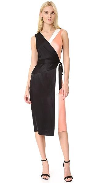 Diane von Furstenberg Sleeveless Taped Wrap Dress