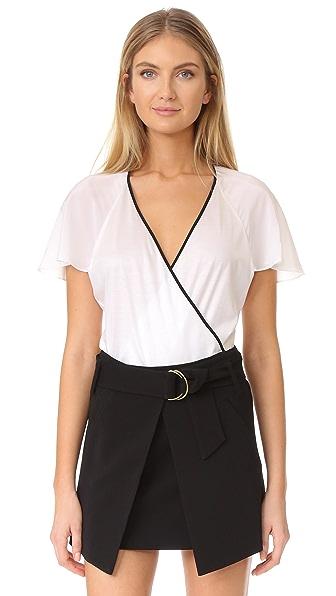 Diane von Furstenberg Ruffle Short Sleeve Bodysuit