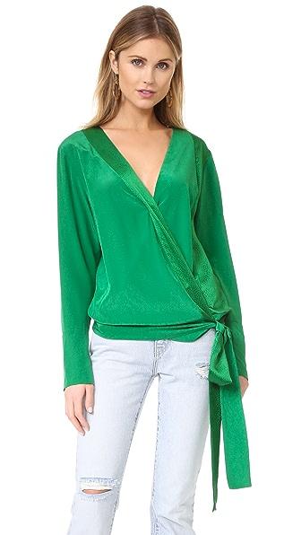 Diane von Furstenberg Блуза с длинными рукавами и перекрещенной отделкой