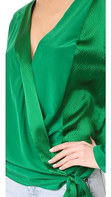 Diane von Furstenberg Long Sleeve Cross Over Blouse