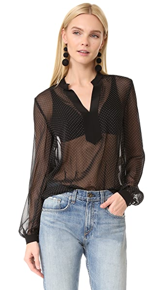 Diane von Furstenberg Long Sleeve Blouse - Navier Dot Black/Black