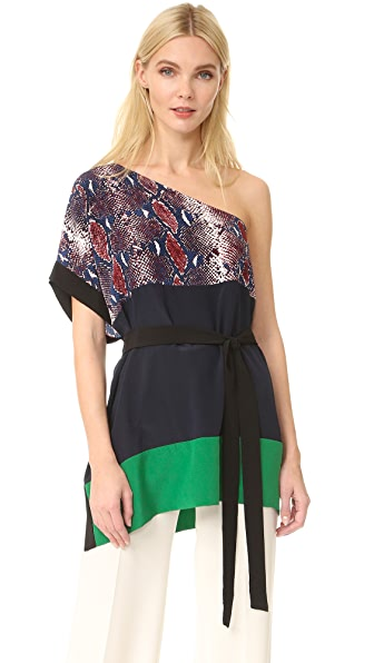 Diane von Furstenberg Short Sleeve Shoulder Wrap Top