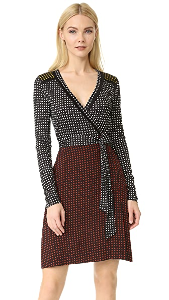 Diane von Furstenberg Long Sleeve Mixed Wrap Dress