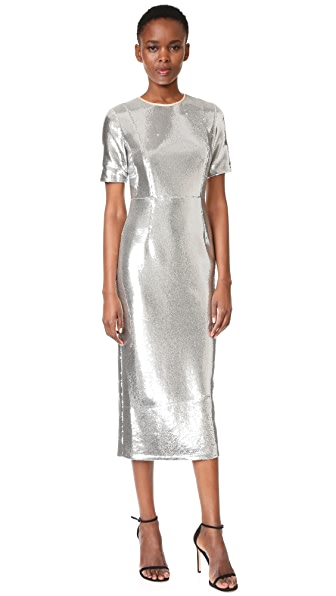 Diane von Furstenberg Short Sleeve Tailored Sequin Dress