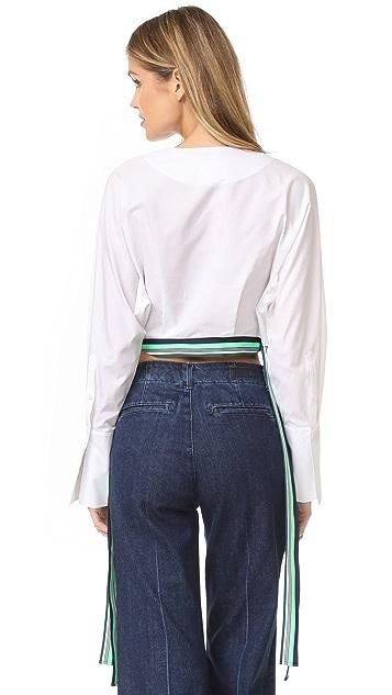 Diane von Furstenberg Long Sleeve Cropped Side Tie Blouse
