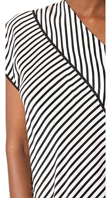 Diane von Furstenberg One Shoulder Side Slit Blouse