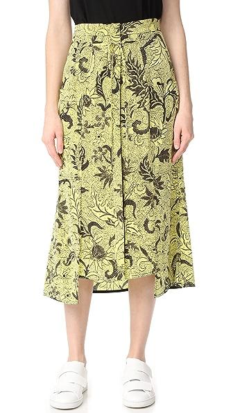 Diane von Furstenberg Waist Tie Button Front Skirt In Serret Canary Yellow