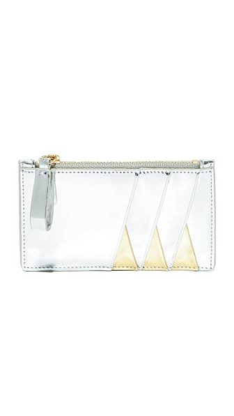 Diane von Furstenberg Zip Top Card Case - Silver/Gold
