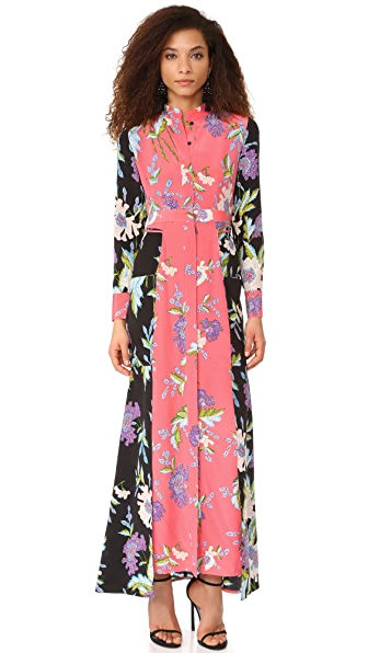Diane von Furstenberg Floor Length Shirtdress - Curzon Black/Curzon Pink