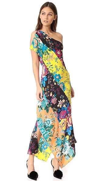 Diane von Furstenberg One Shoulder Dress In Bournier Black/Bournier Yellow