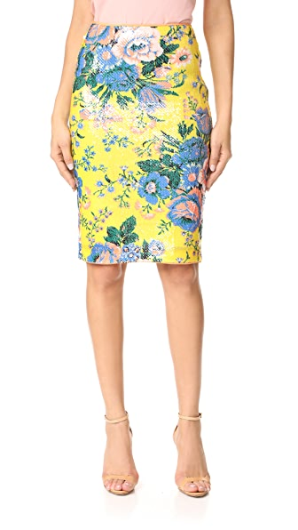 Diane von Furstenberg Tailored Pencil Skirt - Bournier Acid Yellow/Peach